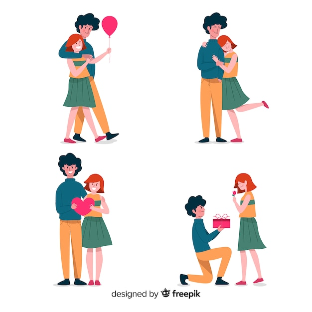 Couple in love collection Free Vector