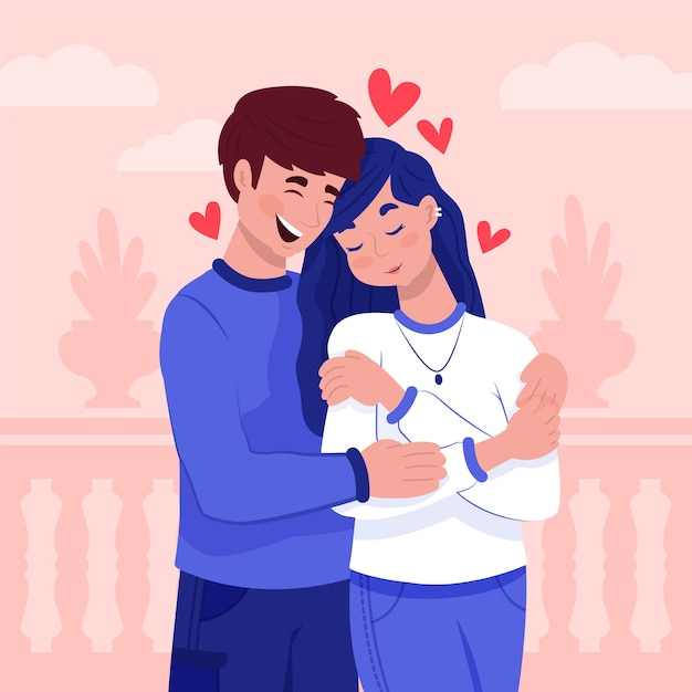 Couple in love concept Free Vector