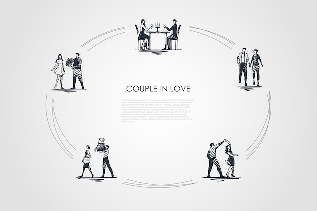Couple in love hand drawn cicle Premium Vector
