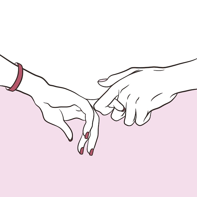 Couple in love hold hands Premium Vector