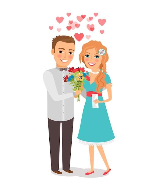 Coppia in amore. amanti uomo e donna con un mazzo di fiori. illustrazione vettoriale Vettore gratuito