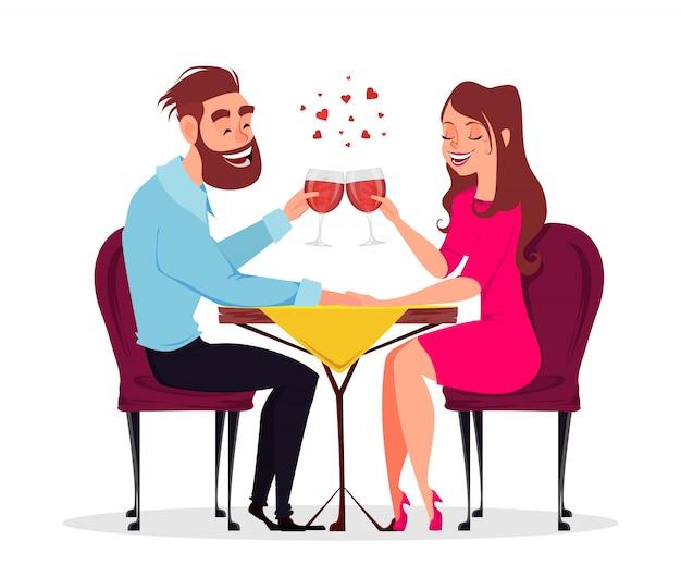 Couple in love, romantic evening in restaurant Premium Vector