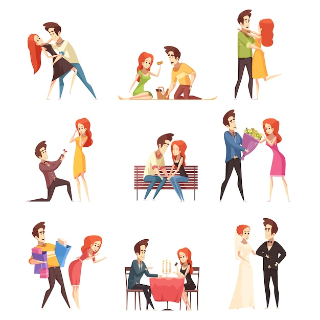 Couple in love set Free Vector