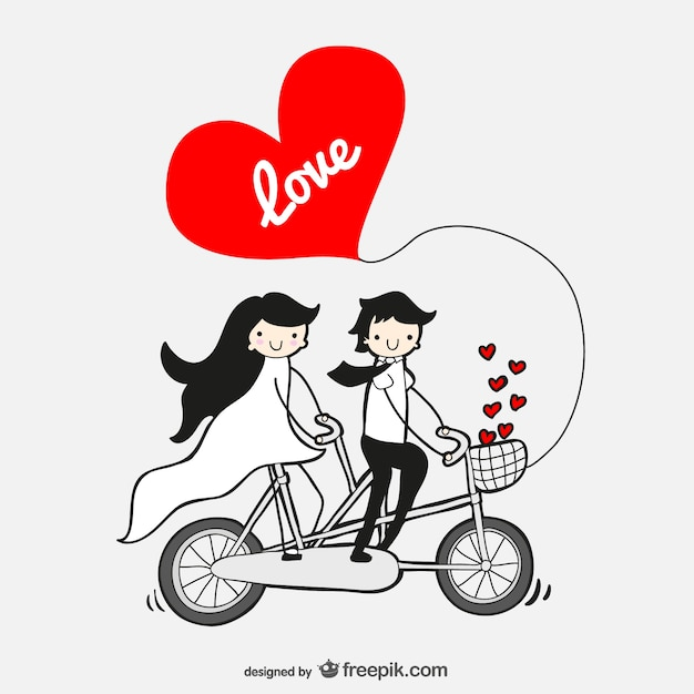 Couple in love in a tandem bicycle Free Vector