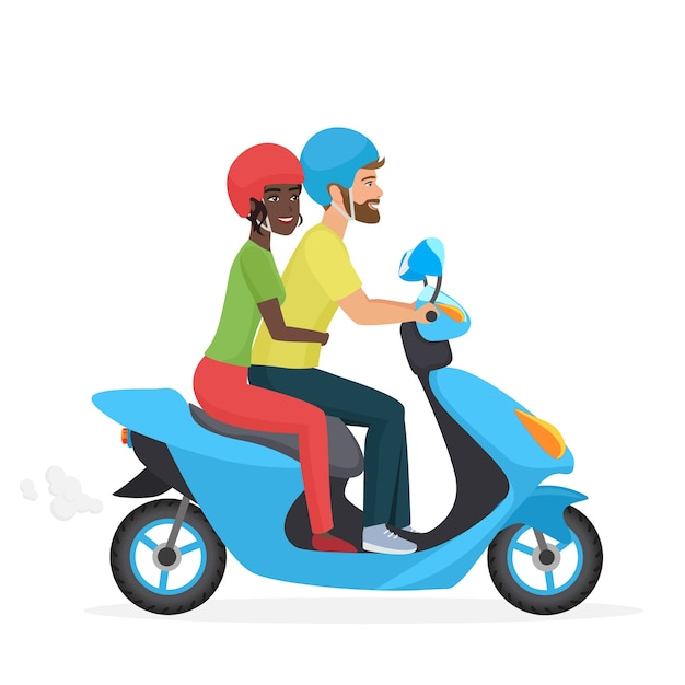 Couple in love together on scooter Premium Vector