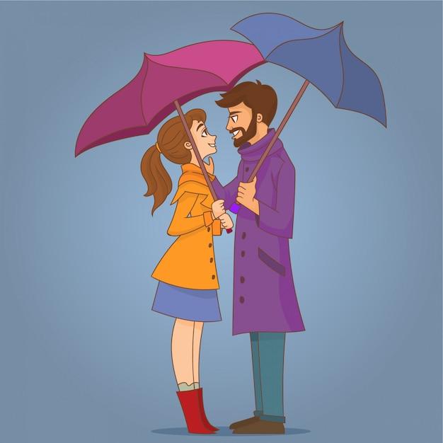 Couple In Love Under Umbrella Vector Premium Download