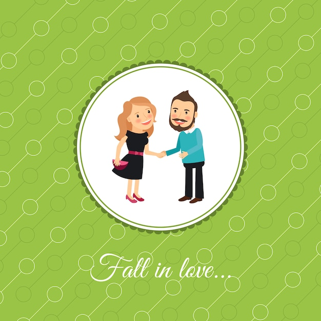 Couple in love valintines day card Premium Vector
