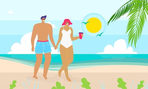 Couple in love walking on sand beach near sea Premium Vector