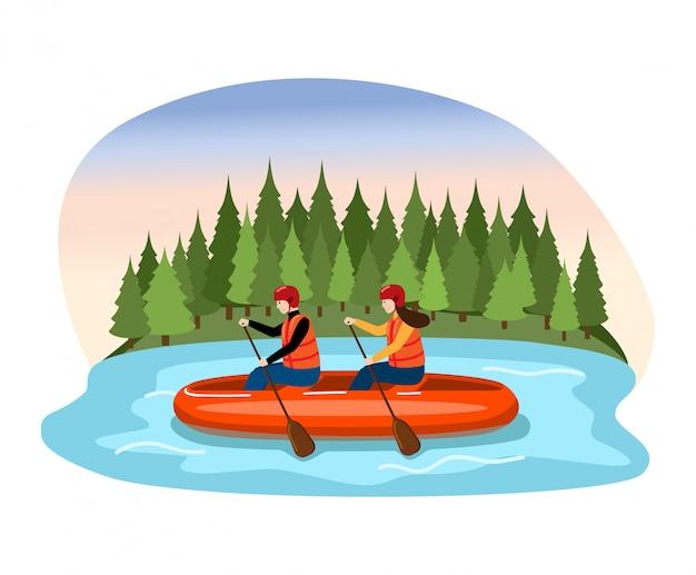 カップル男性女性キャラクター降下いかだ川、人々フロート、白、イラストのオール山湖を漕ぐ。 Premiumベクター