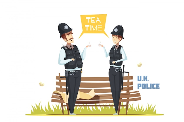 Couple of male and female  police officers Free Vector