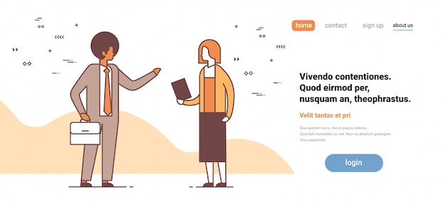 Couple man woman discussing on business meeting colleagues communication concept male female cartoon character full length horizontal copy space Premium Vector