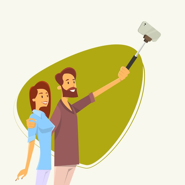 Couple man woman taking selfie photo Premium Vector