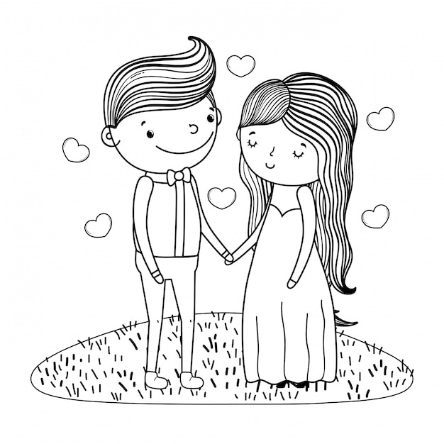 Couple marriage cute cartoon in black and white Premium Vector