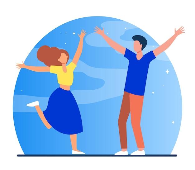 Встреча пары после разлуки. девушка и парень идут друг к другу с распростертыми объятиями плоской векторной иллюстрации. романтика, знакомства, любовь Бесплатные векторы