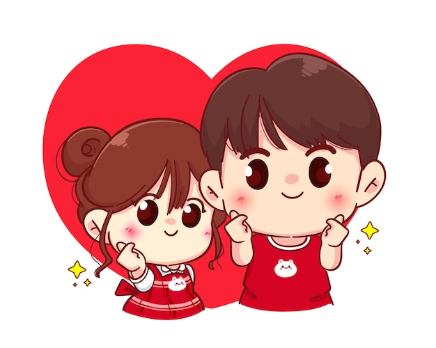 Couple mini heart hand sign, happy valentine, cartoon character illustration Premium Vector