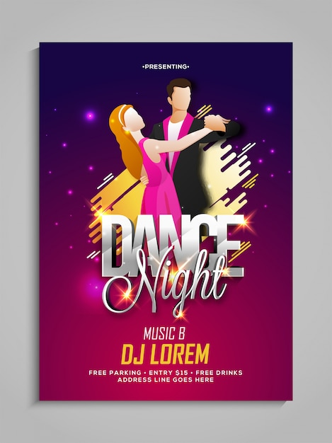 Couple Night Dance Party Template Dance Party Flyer Night Party