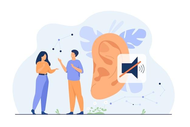 Пара глухих людей разговаривает с жестами рук, огромным ухом и немой подписывается в фоновом режиме. векторные иллюстрации для потери слуха, общения, концепции языка жестов Бесплатные векторы