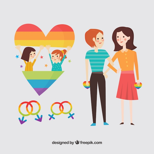 Couple Of Girls With Heart And Gender Symbols Vector Free Download