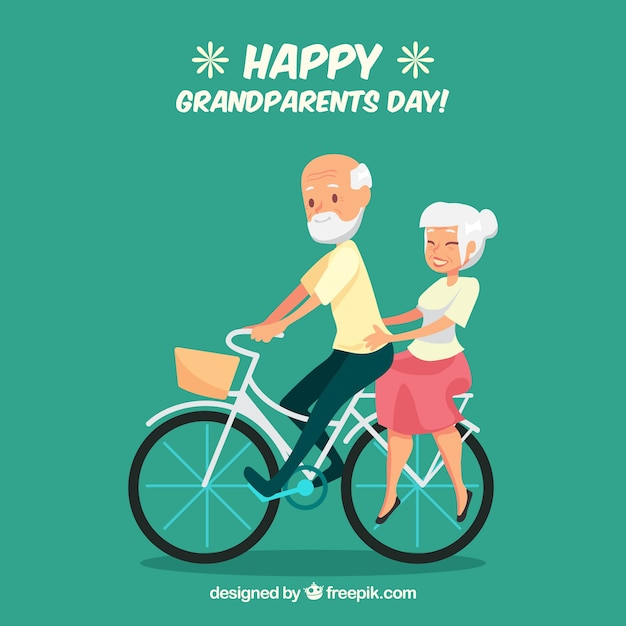 Couple of grandparents riding a bicycle\ background