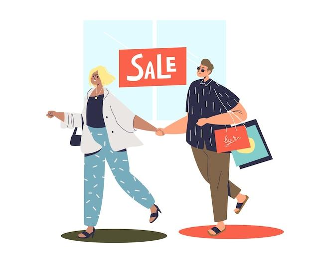 販売中に買い物をする流行に敏感なカップル。 Premiumベクター