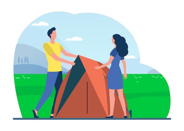 キャンプを楽しんでいる観光客のカップル。テント、自然、風景フラットイラスト 無料ベクター