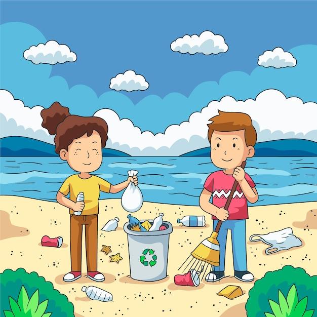 ウォーターフロントのプラスチック製のゴミを掃除する若者のカップル 無料ベクター