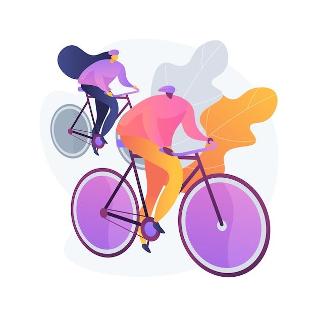 Пара на велосипедах. здоровый образ жизни и фитнес. всадник на дороге, велосипедист на холмах, гонка велосипедистов. семейное путешествие. автомобиль и транспорт. Бесплатные векторы