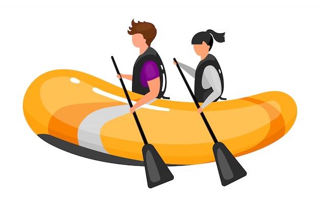 Пара на лодке плоской иллюстрации. опыт экстремальных видов спорта. активный образ жизни. водные развлечения на свежем воздухе. командная работа гребля. спортивные люди изолировали мультипликационный персонаж на белом фоне Premium векторы