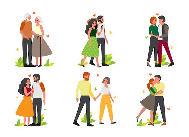 Пара по разным видам деятельности. женщина и мужчина влюблены. влюбленные держатся за руки и проводят время вместе. Premium векторы