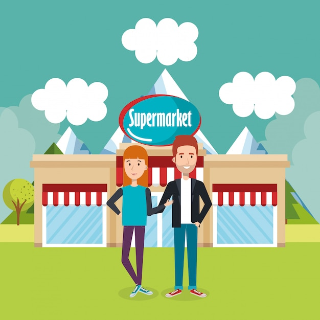 Couple outside supermarket building scene Free Vector