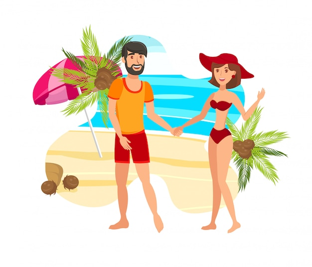 Couple on paradise island flat color illustration Premium Vector