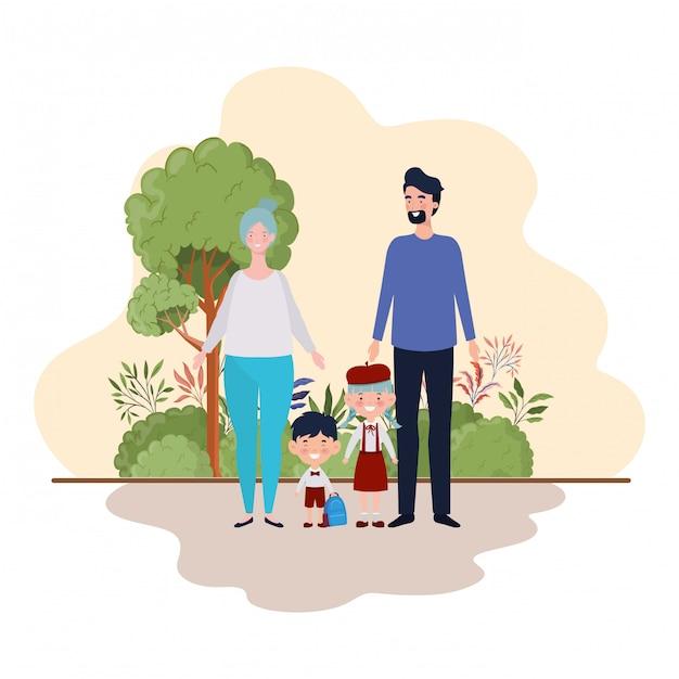 Couple of parents with children in landscape Premium Vector