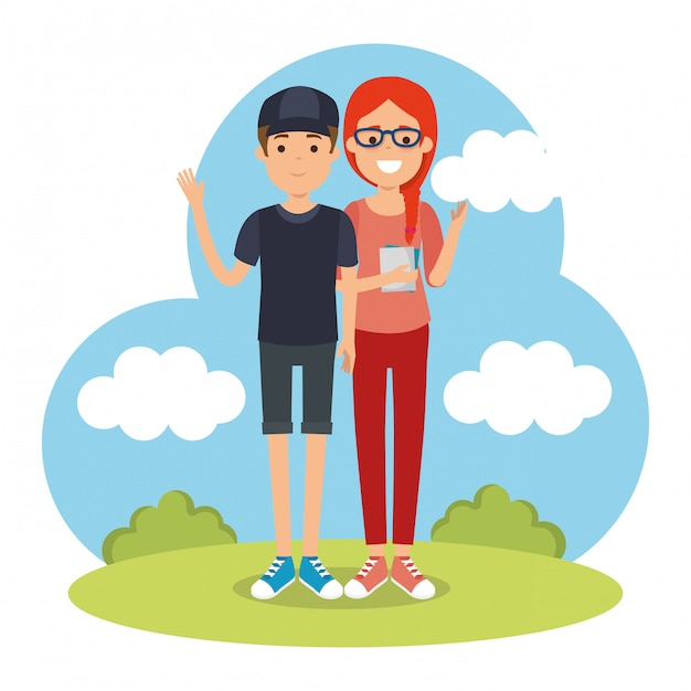 Couple in the park characters Free Vector