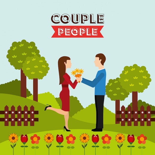 Couple people design Free Vector