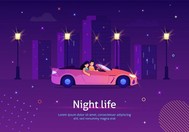 Couple of people driving cabriolet car at night. Premium Vector