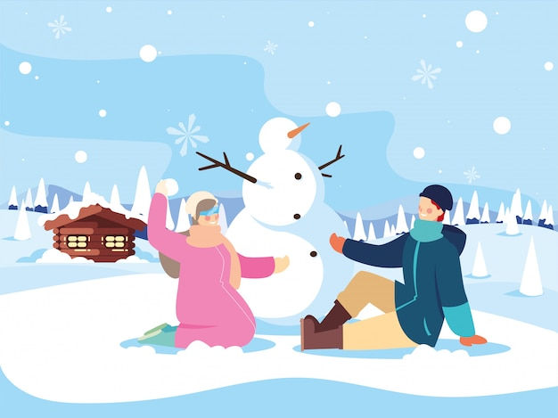 Couple of people with snowman in winter landscape Premium Vector