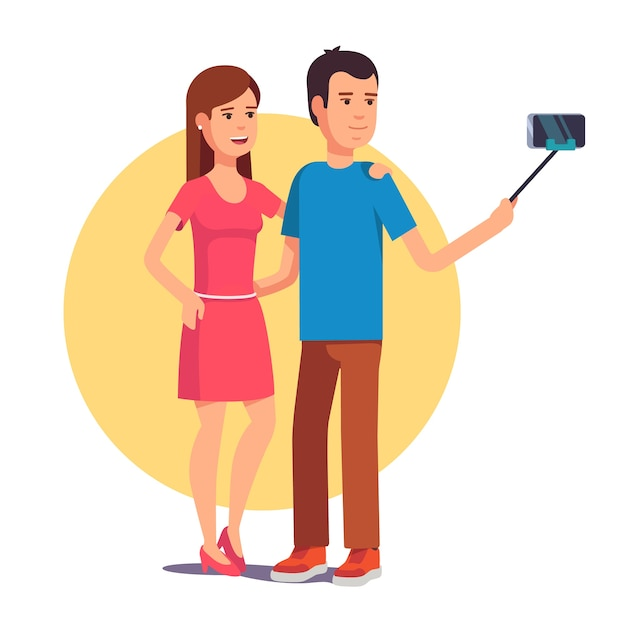 couple photographing themselves on selfie stick vector free download. Black Bedroom Furniture Sets. Home Design Ideas