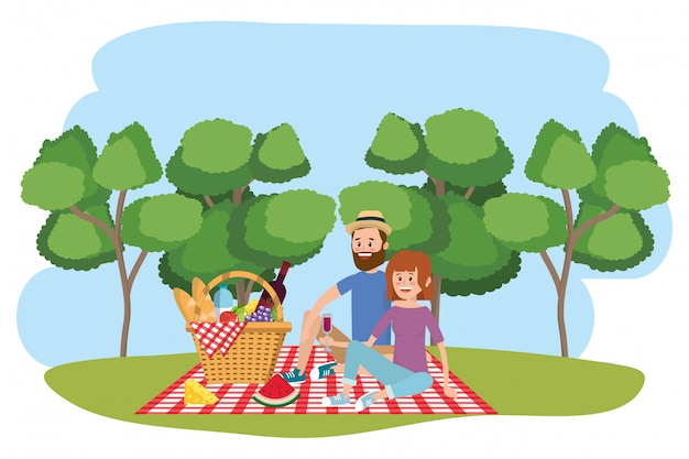 Couple and picnic cartoons Premium Vector