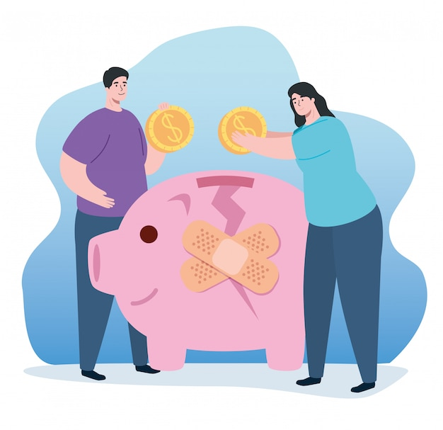 Couple and piggy bank broken with cure bands Free Vector