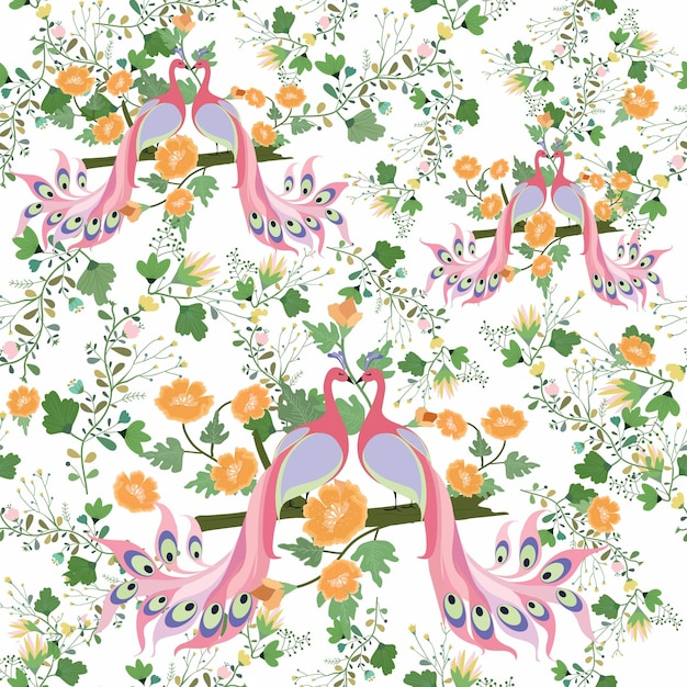 Couple pink peacock with floral seamless pattern. Premium Vector