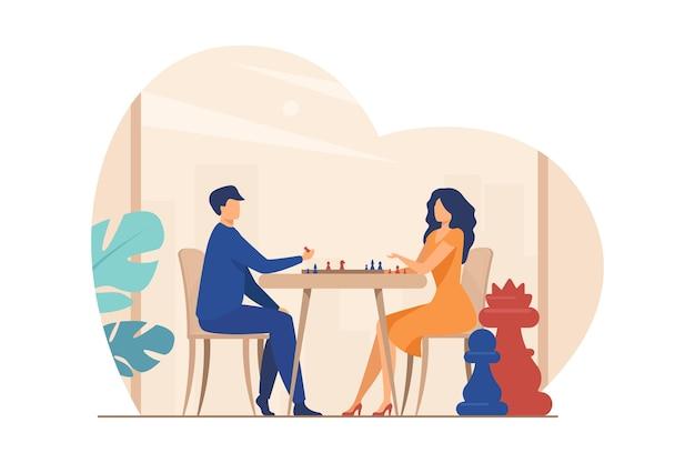 체스 커플입니다. 체스 판 평면 벡터 일러스트 레이 션에 남녀. 여가, 취미, 지성, 도전 무료 벡터