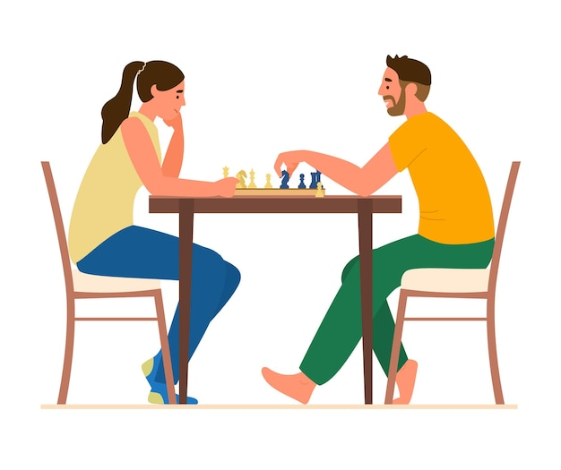 Couple playing chess at table at home. Premium Vector