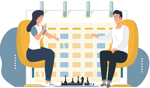 Couple playing chess. young peope sitting at the table with chessboard. chess tournament between two persons. strategy game. timetable or a schedule on background. man and woman spend time together Premium Vector