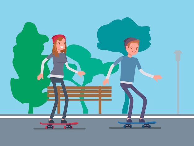 Couple playing skateboard in park Premium Vector
