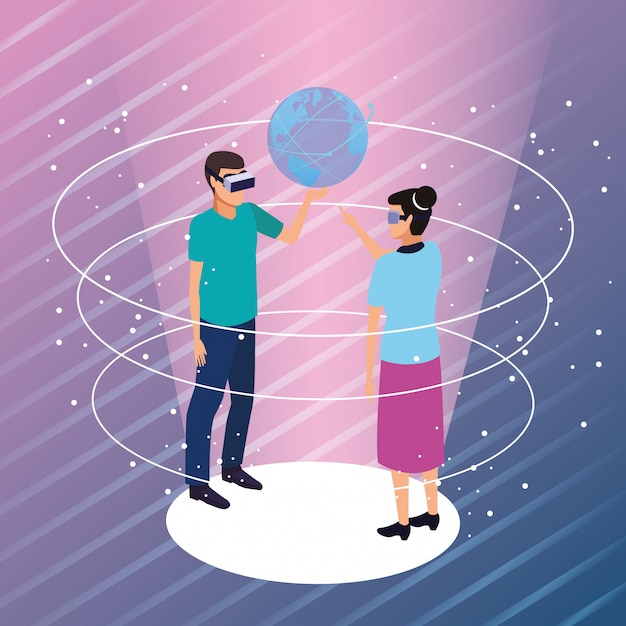 Couple playing with virtual reality Free Vector