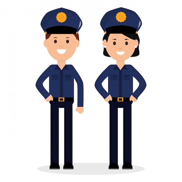 Couple police officers avatars characters Premium Vector