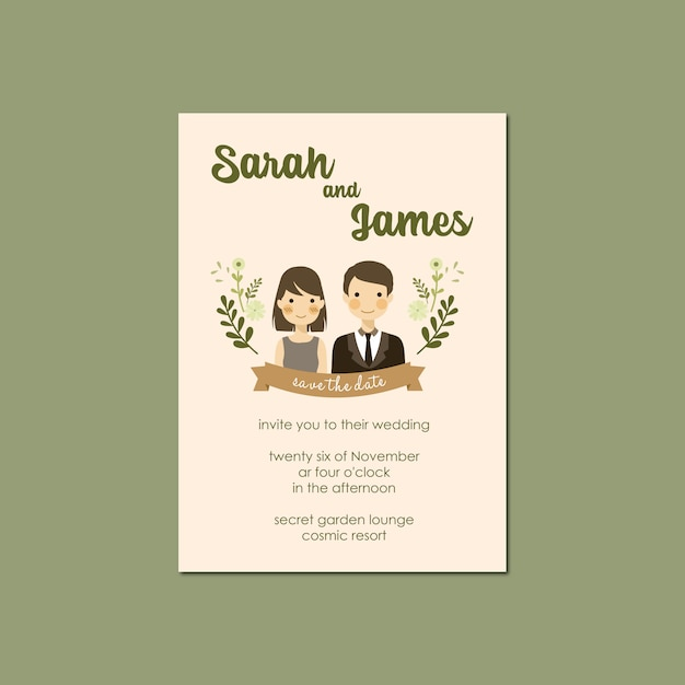 Couple portrait illustration wedding invitation template Premium Vector
