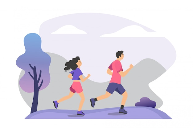 Couple practicing trail run training Free Vector