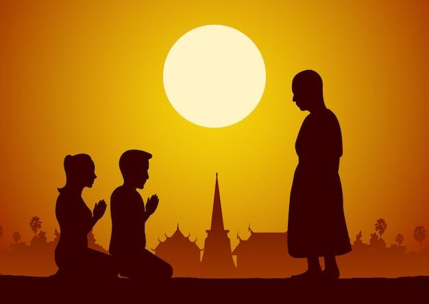 Пара молиться почтить монаха Premium векторы