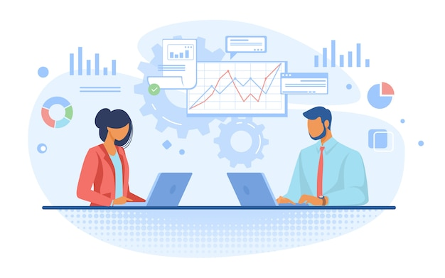 Couple of professionals analyzing graphs Free Vector